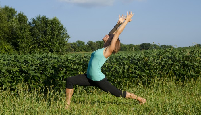 Amy Fecher doing yoga in Beavercreek, Ohio.